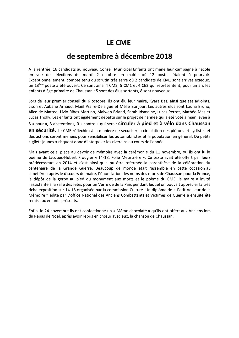 CME de sept a dec 2018